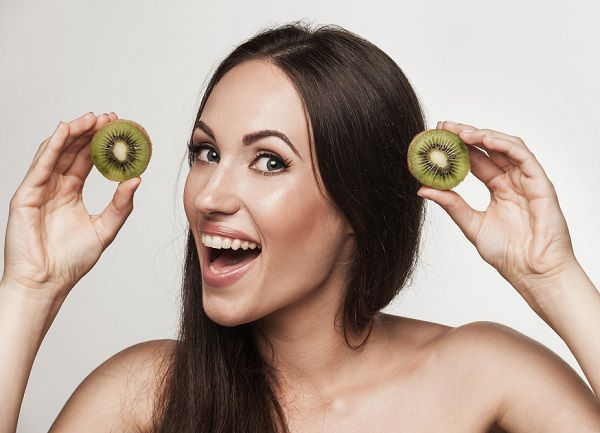 Kiwi and beautiful skin on woman